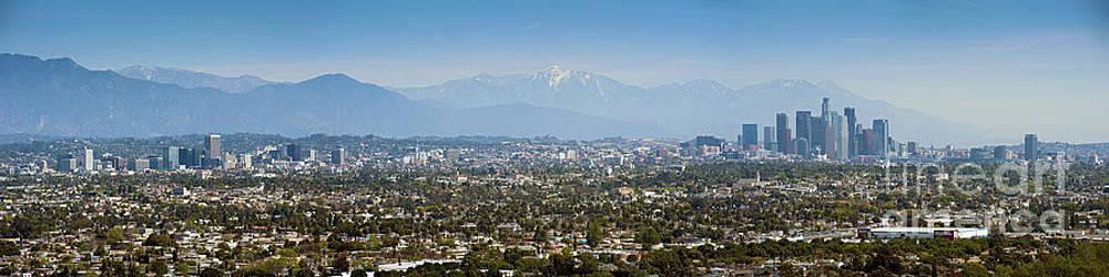 David Zanzinger - LA Skyline from Downtown to Century City San Bernardino Mountains