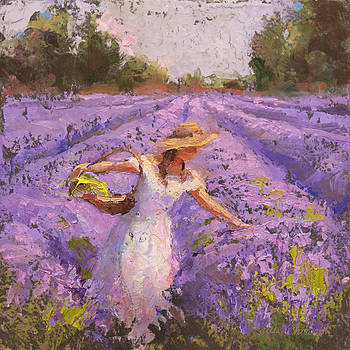 Woman Picking Lavender In A Field In A White Dress - Lady Lavender - Plein Air Painting by Karen Whitworth