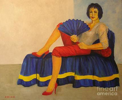 Lady With Fan - Die Dame Mit Dem Faecher by Dagmar Helbig