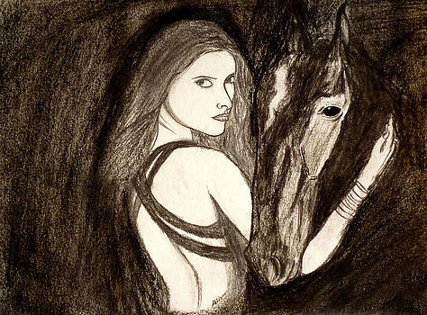 Lady With Horse by Abhinav Krishna Dwivedi