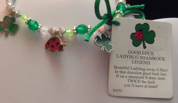 Ladybug and Shamrock Charm Bracelet with Legend Card by Kimberly Johnson