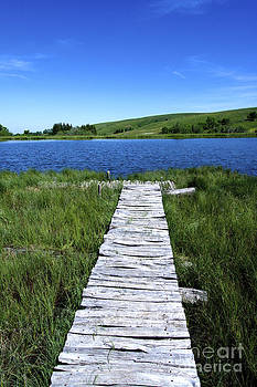 BERNARD JAUBERT - Lake and wooden pontoon. Auvergne. France.