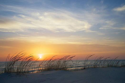 Mary Lee Dereske - Lake Michigan Sunset with Dune Grass