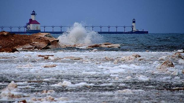 Lake Michigan Thawing Out by Xcape Photography