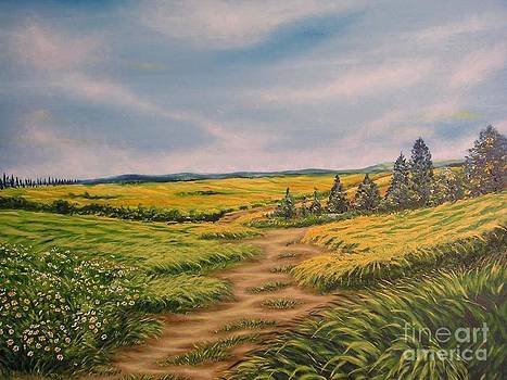 Landscape field grass trees and road  by Drinka Mercep