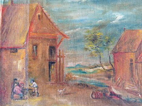 Landscape of a village by Egidio Graziani