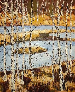 Landscape with birches by Zeke Nord