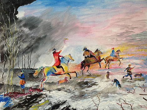 Landscape with horsemen. by Egidio Graziani