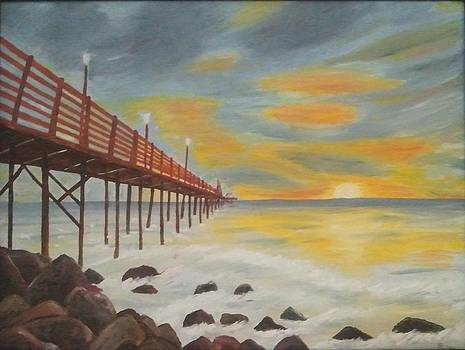 Landscapes Art - Sunset on the rocks Oil Painting by Pallavi Talra