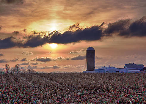 Late Winter Sunrise On The Farm by Michael Huddleston