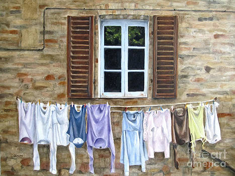 Laundry Day in Tuscany by Karen Olson