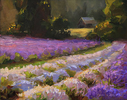 Lavender Farm Landscape Painting - Barn and Field at Sunset Impressionism  by Karen Whitworth