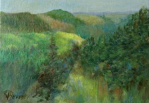 Layers of Mountain Ranges Colorful Original Landscape Oil Painting by K Joann Russell