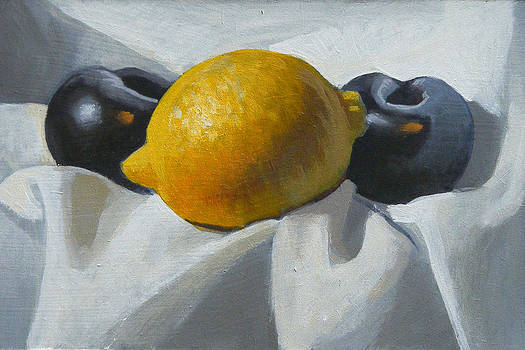 Lemon and plums by Peter Orrock