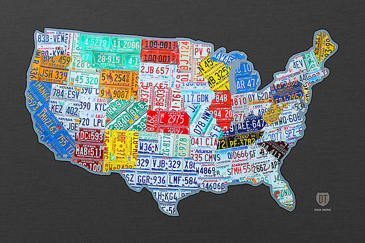 License Plate Map of the USA on Gray by Design Turnpike
