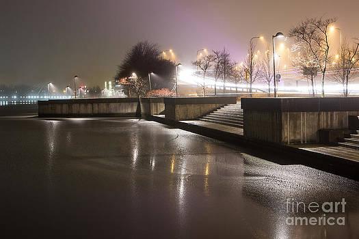 Light stream at night by Markus Hovikoski