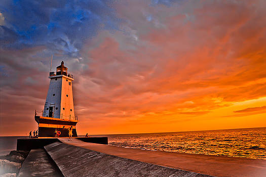 Lighthouse at sunset by Mathieu Beauchesne