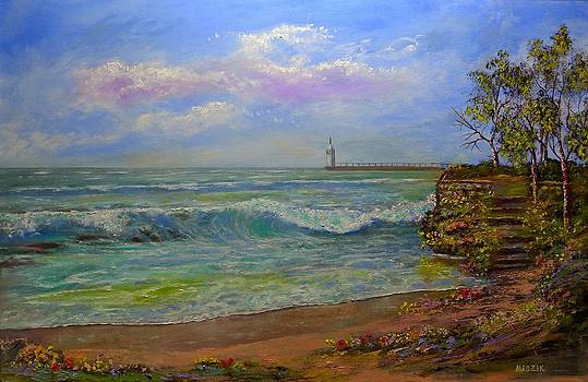 Lighthouse By The Lake by Michael Mrozik