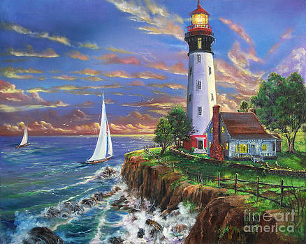 Lighthouse On A Cliff by Earl Butch Curtis