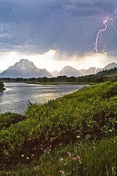 Lightning Over the Tetons by Judi Baker