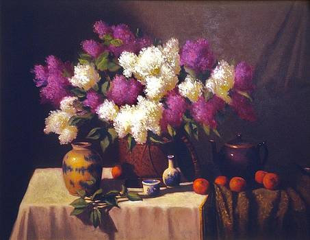 Lilacs with Teapot and fruit by David Olander