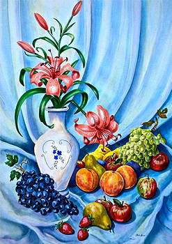Lilies and Fruit Still Life by Jan Law