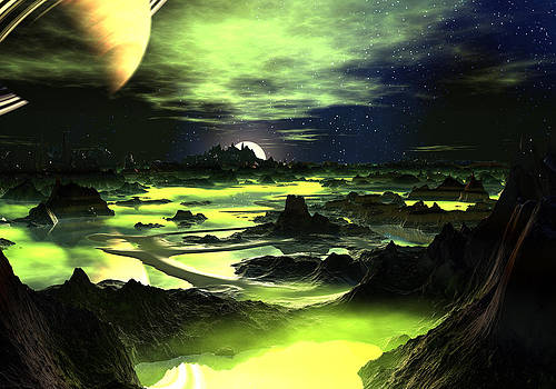 Lime Green Alien Landscape by Spinning Angel