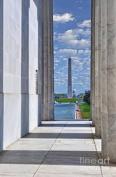 David  Zanzinger - Lincoln Memorial Columns Framing the Reflecting Pond  Washington Monument