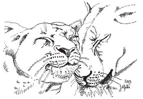 Lion and Cub by John Keaton