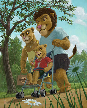 Martin Davey - lion family in park
