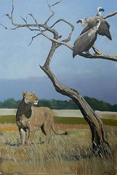 Lioness and Vultures by Robert Teeling