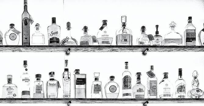 Kathleen K Parker - Liquor Bottles - Black and White