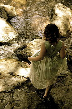 Little Girl and Stepping Stones by Cherie Haines