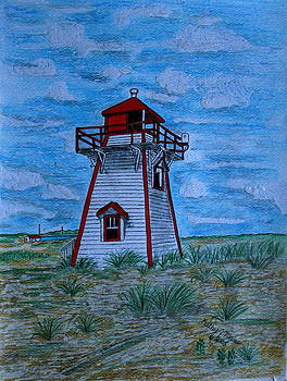 Little Red and White Lighthouse by Kathy Marrs Chandler