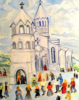 Little White Church Ghazanchetsots Cathedral Karabagh Armenia by Helena Bebirian
