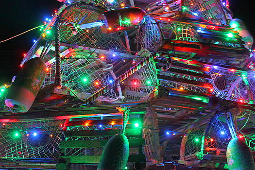 Lobster Trap Christmas Tree Up Close by Suzanne DeGeorge