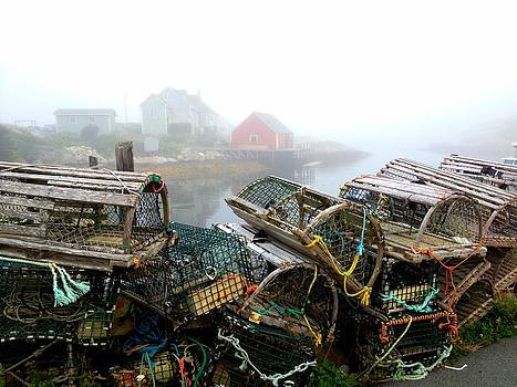 Lobster Traps and fog by Tracy Munson