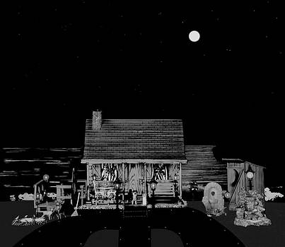 Log Cabin Scene Near The Ocean At Midnight In Black And White by Leslie Crotty