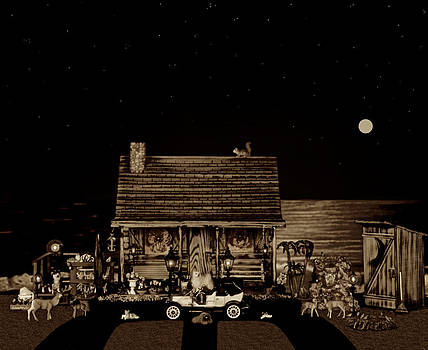 Log Cabin Scene Near The Ocean In Sepia Color With Old Time Classic 1908 Model T Ford by Leslie Crotty