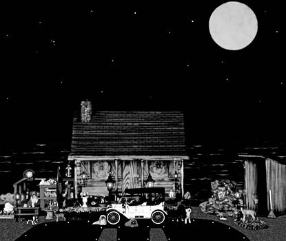 LOG CABIN SCENE  WITH THE OLD VINTAGE CLASSIC 1913 Buick model 25 in black and white by Leslie Crotty