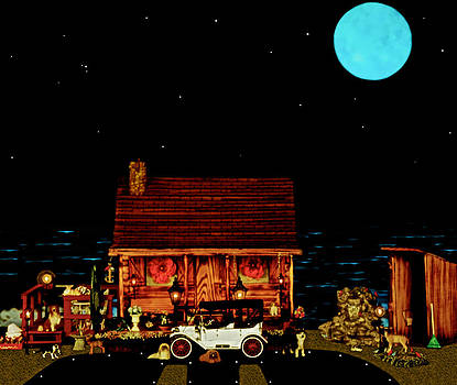 LOG CABIN SCENE  WITH THE OLD VINTAGE CLASSIC 1913 Buick model 25 in color by Leslie Crotty