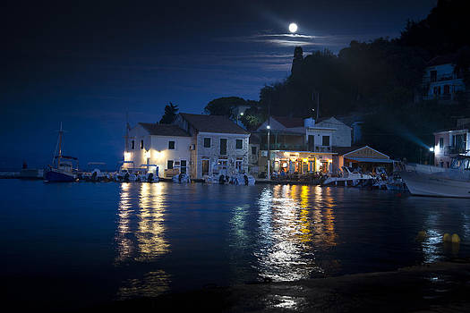 Logos Paxos Greece by night by Andrew James