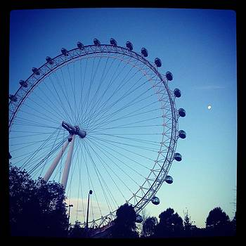 London Eye with full moon by Maeve O Connell