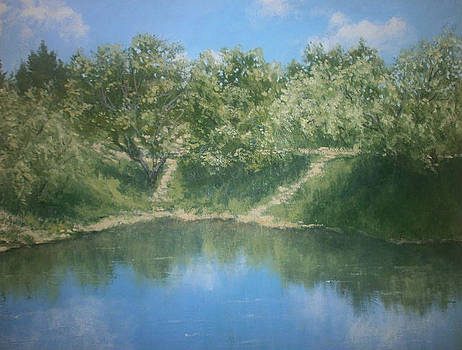 Looking at himself summers in the mirror of water by Yaroslav Kuvshinov