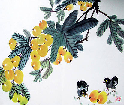 Loquat with Chick by Man Shurong