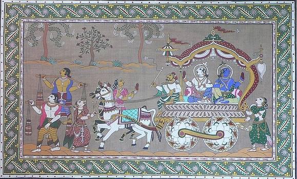 Lord Krishna with brother visiting Mathura by Prasida Yerra