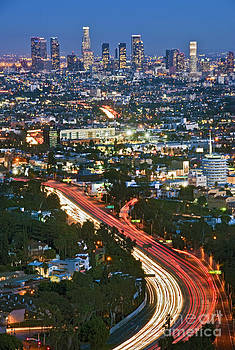 David  Zanzinger - Los Angeles CA Skyline Clear Evening Hollywood to Downtown LA Twilight streaking car tail lights