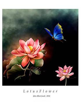 Lotus Flower and ButterFly by John Junek