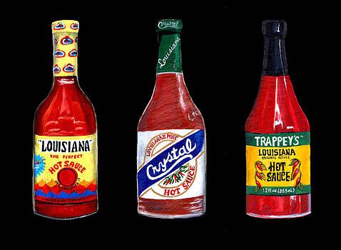 Louisiana Hot Sauce Trio on Black by Elaine Hodges