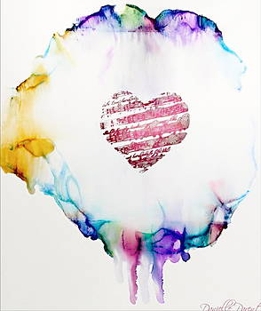 Love And Music For The Bleeding Hearts Alcohol Inks by Danielle  Parent